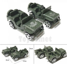 2 pcs Military Jeep Car Green Model Plastic Toy Soldier Army Men Accessories
