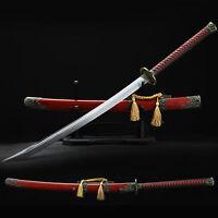Handmade Chinese Sword Carbon Steel Blade Premium Alloy Fitting Pearwood Sheath