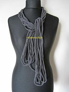 BORIS INDUSTRIES Traumhafte Kette Schal Lagenlook schwarz-silber Streifendesign