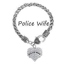 Name Police Wife White Crystal Heart Charm Silver Plated Bracelets Fashion