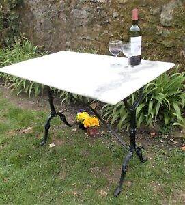 vintage bistro table, marble top, garden, conservatory