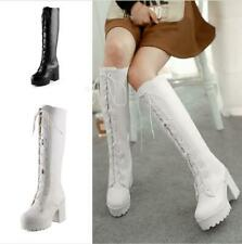 Womens Knee High Military Chunky Heels Round Toe Lace Up Boots Cosplay Costumes