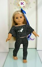 More details for  halloween bat top leggings hair extensions american girl 18 inch doll clothes