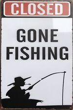 GONE FISHING Vintage Retro Metal Tin Sign Plaque Garage Bar Pub ManCave- Home