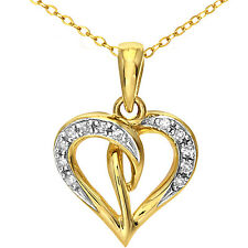 Naava 9ct Yellow Gold Diamond Heart Pendant + 46cm Chain (PP04240Y)