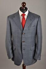 Men's CORNELIANI Virgin Wool/Silk Checked Grey 3 Button Blazer Jacket Size 52 R