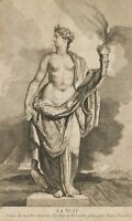 nach Jean RAON(*1630), Allegorie der Nacht, weiblicher Akt, 18.Jhd., Kupferstich
