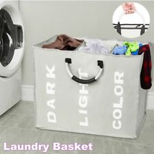 Laundry Basket Bin 3 Sections Large Clothes Hamper Storage Oxford Cloth & Metal