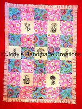 HANDMADE BABY QUILT /EMBROIDERED BLACKWORK SUNBONNET SUE  29 X 38