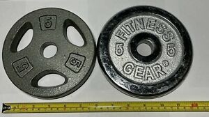 Lot Of 2 (5 LB Pound)Assorted Weight Plates (10 Lb Total)