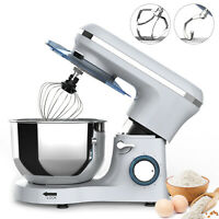 Electric Food Stand Mixer 6 Speed 6QT 850W Tilt-Head Stainless Steel Bowl Silver