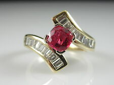 14K Pink Spinel Diamond Ring Yellow Gold Fine Jewelry Bypass Cushion Baguette