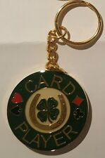 CARD PLAYER Keychain Poker Card Guard Cover Protector - 4 Leaf Clover
