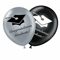 "Graduation 12"" Set Black Silver Original Latex Balloons Congratulation Graduate"