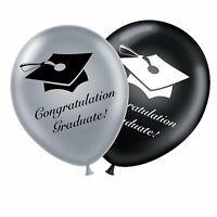 "Graduation 12"" Set Black Silver Original Latex Balloons Congratulation Graduate"