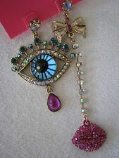 "BETSEY JOHNSON ""THE EYES HAVE IT"" MISMATCH DROP/DANGLE EARRINGS~NWT~RARE"
