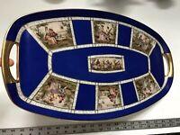 "20"" Vtg Antique Czech Beehive Mark 7 Figural Medallions Cobalt Hand Paint Tray"