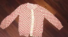 Girl's Cardigan Sweater Cherry White Red Crewcuts Size 4/5
