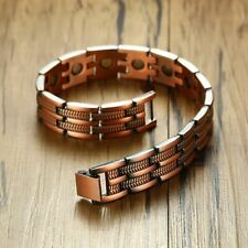 Vnox 13mm Red Copper Magnetic Bracelets for Man Women Pain Relief Male Jewelry