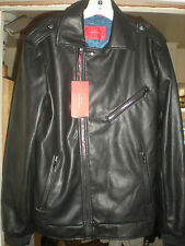Basic Zara Man-Men's Black Faux Leather Coat-Size M-Slim Fit-Black Faux Leather