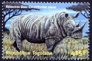 White Rhino, Wild Animals, Togo 2001 MNH