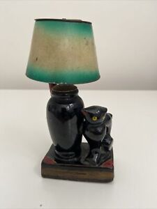 Evanus Vintage Fuel Flinted Cat And Shade Table Lighter