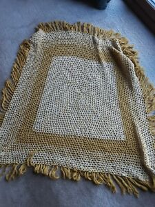 Vintage Retro Hand Crocheted Knitted Mustard Throw Cloth Camper van