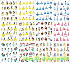12 Sheets Disney Snow White Mermaid Princess Belle Water Nail Art Stickers Decal