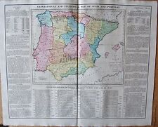 1829 ANTIQUE MAP- LAVOISNE-GEOGRAPHICAL AND STATISTICAL MAP OF SPAIN AND PORTUGA