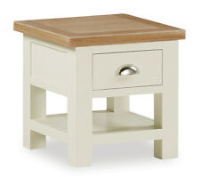 Daymer Painted Lamp Table / Square Off White Side Coffee Table / Oiled Oak Top