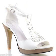 Escarpins Femme Haut Talon Brides Blanc Cloutées 40 CLOUS ARGENT MALIC ZAZA2CATS