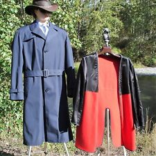 42 TALL TRENCH COAT BLUE BELTED ZIP IN/OUT LINING EPAULETS LONDON FOG 42T CANADA