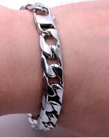 Mens 20cm Stainless Steel Silver Curb Link Chain Bracelet Chunky 12/8/6mm UK C4