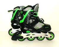 GOLD CROSS GXC-225 Boys Black Green Rollerblades Size 3-6 Good Condition