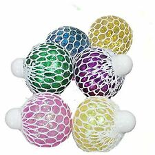 LED Light Up Mesh Squishy Balls Rainbow Stress Relief Kids Party Bag Fillers Toy
