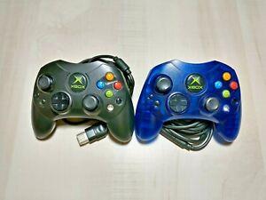 2 Original Microsoft Xbox Type S Controllers Blue Black Tested Working Breakaway