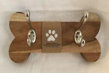 "Coat Pet Leash Hook Hanger Dog Bone Wood Wall Rack New 10.5"" Light & Silver"