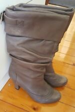 STEVE MADDEN Brown Leather Calf High Boots Size 37 Pull On Slouch Heel  1