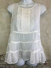 Anthropologie Maeve Sheer Ruffle Sleeveless Top Tank White Small Polka Dot F