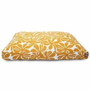 Yellow Plantation Medium Rectangle Indoor Outdoor Pet Dog Bed With Removable ...