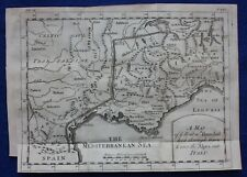 Original antique map 'THE ROUTE HANNIBAL TOOK THROUGH GAUL & OVER THE ALPS' 1747