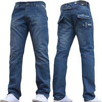 Enzo Hombre Estándar Adaptarse Moda Vaqueros muy detallado EZ 243 Jeans - Blue