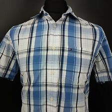 Tommy Hilfiger Mens Shirt SMALL Short Sleeve Blue Regular Fit Check Cotton