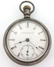 RARE ONLY 31,000 MADE / 1904 ELGIN 18S 17J  STERLING SILVER POCKET WATCH.