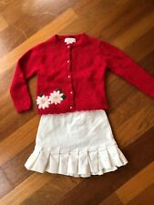 Hartstrings Poinsettia Holiday Christmas Dressy Cardigan Sweater Skirt Set 3 3T