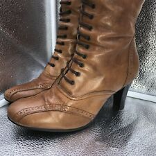Clarks Sz 38.5 5.5 Brown Leather Victoriana Lace Up Boots Goth SteamPunk