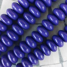 Vintage German pressed glass beads,Opaque Royal Purple,15x8mm rondelle. 10/pack.