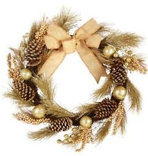 Elegant Door Wreath Christmas Decor Wall Hanging Gold Ornaments Gift Swag 24""