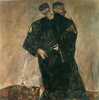 Egon Schiele The Hermits Giclee Art Paper Print Paintings Poster Reproduction