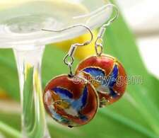 SALE Beautiful 18mm Red Round Cloisonne Beads Dangle 1.5'' earring-ear585
